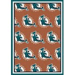 "Milliken NFL Team Repeat (NFL-R) Miami Dolphins 09050 Repeat Rectangle (4000059445) 3'10"" x 5'4"" Area Rug"
